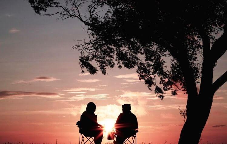 2 people, sunset